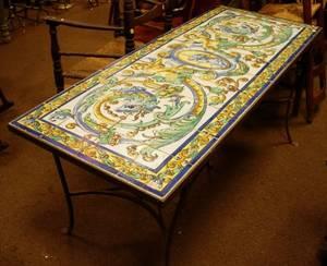 Italian Faience Tiletop Wrought Iron Table