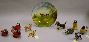 Ten Assorted Goebel Ceramic Animal and Bird Figures and a Royal Bayreuth Porcelain Cows Plate