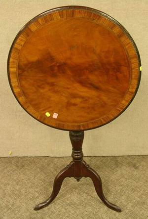 Victorian Mahogany and Rosewood Veneer Tilttop and Carved Walnut Stand