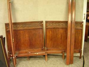 Pair of Provincial Frenchstyle Carved Wood Twin Beds