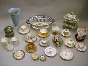 Collection of Ten Porcelain Demitasse Cups and Saucers and a Group of Assorted Decorative and Collectible Items