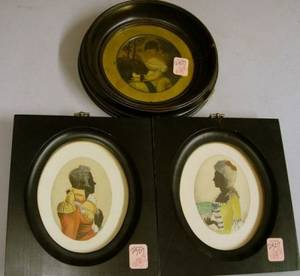 English Framed Pair of Miniature Watercolor and Silhouette Portraits of a Man and Woman and a Circular Framed