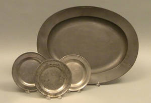 Pair of English pewter plates 18th c