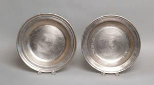 Pair of Philadelphia pewter Love plates late 18th c