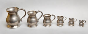 Graduated set of six English pewter measures 19th c