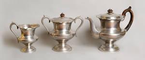 Massachusetts three piece pewter tea service ca 1835