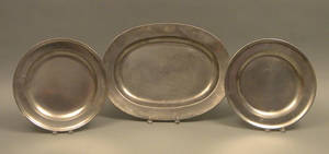 Two English pewter chargers ca 1800