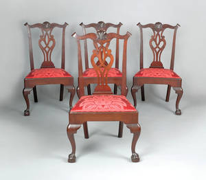 Set of four Delaware Valley Chippendale mahogany dining chairs ca 1770