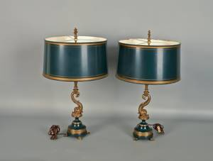 Pair of Empire style brass and painted tin table lamps
