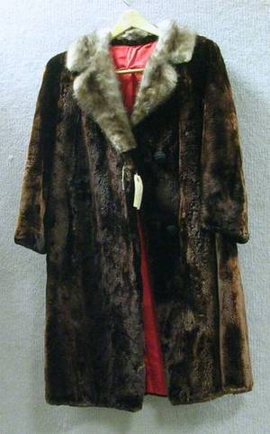 Ladys Vintage Seal Fur Coat with Mink Collar