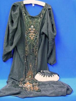 1920s Black Silk and Cut Steel Silk and Kid Lined Purse and a 1920s Black Silk and Net Chemise Dress