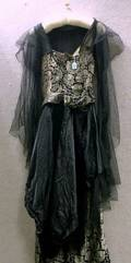 Edwardian Black Silk Net and Silk Brocade Party Gown