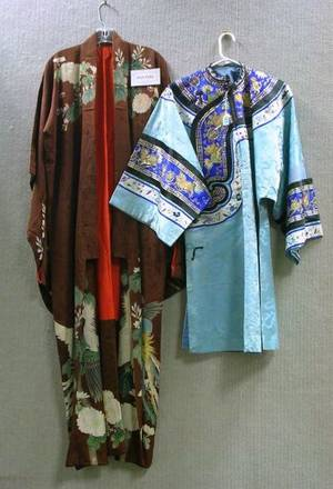 Four Chinese Silk Embroidered Robes and a Skirt Six Japanese Silk Kimono and Two Pieces of Embroidered Fabric