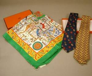 Two Hermes Silk Neckties and a Hermes Cotton Scarf