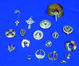 Eighteen Mostly Silver Scottish and Irish Jewelry Items
