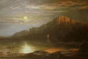 Framed 19th Century American School Oil on Board of a Moonlit Landscape