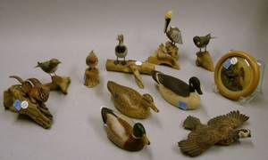 Collection of Ten Small Carved and Painted Wooden Duck Bird and Animal Figures