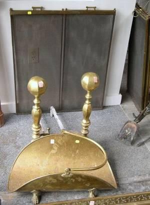 Pair of Brass Faceted Balltop Andirons a Folding Wire Screen a Brass Wood Basket and a Pierced Brass Fireplace Fender
