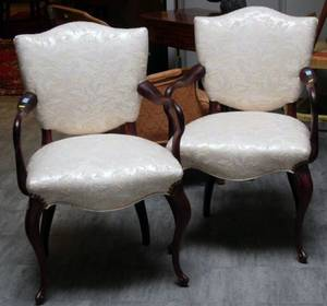 Pair of Louis XV Style Upholstered Carved Mahogany Armchairs