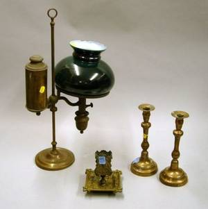 Brass Student Lamp with Green Painted Glass Shade a Pair of Bellmetal Candlesticks and a Cast Brass MatchholderAshtray
