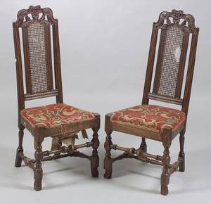 Pair of Jacobean Carved Walnut and Partcaned Side Chairs