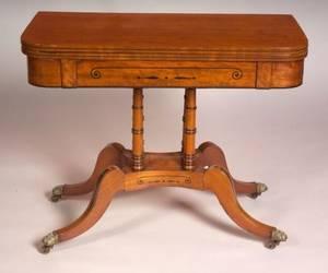 Regency Ebony Inlaid Mahogany Game Table