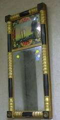 Giltwood and Partial Ebonized SplitBaluster Mirror with Reversepainted Glass Sailboat Tablet