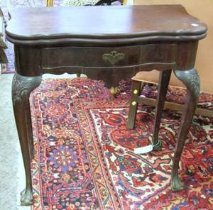 Queen Anne Style Carved Mahogany and Mahogany Veneer Serpentine Card Table