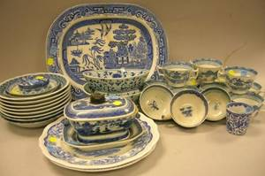 Approximately Thirtytwo Pieces of Assorted Blue and White Decorated Ceramic Tableware