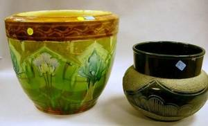 British Art Nouveau Majolica Glazed Art Pottery Jardiniere and a Continental Dark BlueGreen Glazed Art Pottery Jardiniere