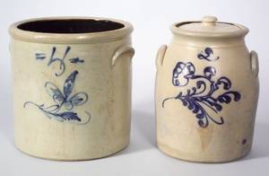 Cobalt Floral Decorated TwoGallon Stoneware Crock and a Cobalt Floral Decorated FourGallon Stoneware Crock