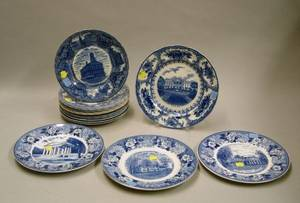 Set of Eleven Staffordshire Blue and White Historical Transfer Decorated Plates and Four Assorted Blue and White Transfer Decorated Sta