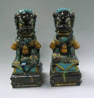 Pair of Chinese Glazed Ceramic Foo Dogs