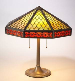 Bradley  Hubbard Octagonal Patinated Cast Metal Overlay Slag Glass Panel Table Lamp