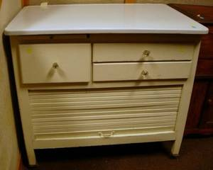 Enameledtop White Painted Hoosier Cabinet Base