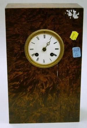 French Burl Walnut Cased Clock
