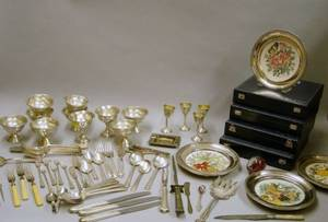 Large Lot of Silver Plated Hollowware and Flatware with a Group of Weighted Sterling Silver Scrap and Four Mounted Collector Plates