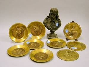 Set of Five Brass Composer and Three Literary Plaques and a Patinated Cast Metal Bust of Milton