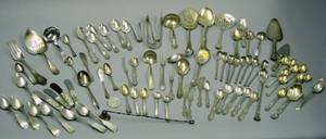 Fiftyfive Pieces of Assorted Sterling Silver Flatware Eight Pieces of Coin Silver Flatware and Sixteen Silver Plated Flatware Items