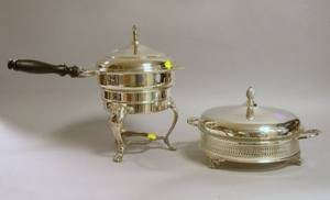 Silver Plated Covered Chafing Dish on Stand and Silver Plated Covered Warming Dish