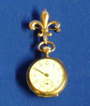 14kt Gold Open Face Pocket Watch and 14kt Gold Fleurdelis Watch Pin