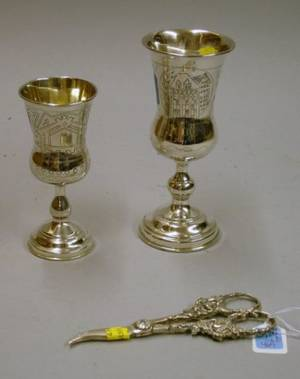 Two Sterling Silver Kiddush Cups and a Pair of Sterling Silver Grape Shears