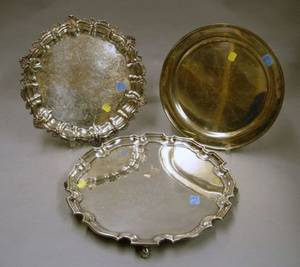 Three English and American Sterling Silver Presentation Trays