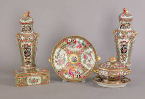 Group of Chinese export porcelain famille rose tablewares 19th c