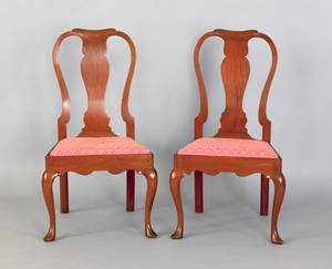 Pair of George II mahogany dining chairs ca 1750
