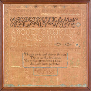 Pennsylvania silk on linen sampler dated 1820