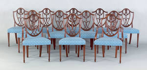 Set of twelve George III mahogany dining chairs ca 1785