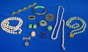 Group of Pearl Jade Amethyst and Marcasite Jewelry