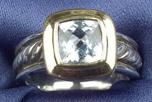 Sterling Silver 18kt Gold and Aquamarine Ring David Yurman