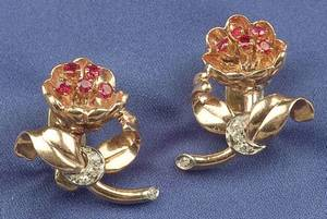Retro Ruby and Diamond Flower Earclips